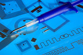 RFID implantation syringe and RFID tags — Foto Stock