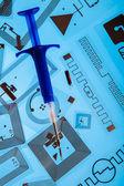 RFID implantation syringe and RFID tags — Stock Photo