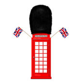 Red telephone box with the handset — Stock Photo