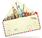 Travel and envelope — Stock Photo