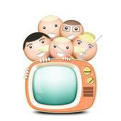 Retro TV and funny family — Stock Photo