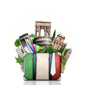Italy, attractions Italy and retro suitcase — Stock Photo