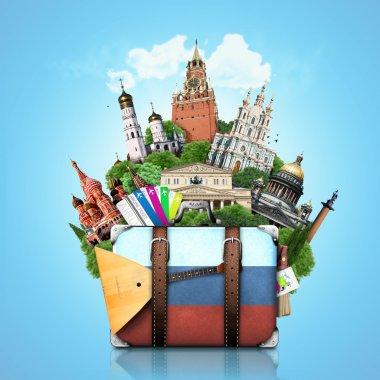 Russia, landmarks Moscow, retro suitcase