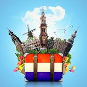 Holanda, monumentos de amsterdam, viajes — Foto de Stock