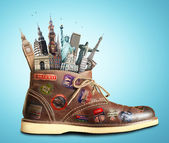 Travel, shoes and landmarks — 图库照片