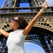 Beautiful young woman on the Eiffel tower — Stock Photo #51467457