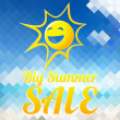 Summer sale design template with smiling sun — Stock Vector