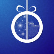 Christmas ball on decorative blue background — Stock Vector