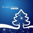 Christmas tree on decorative blue background — Stock Vector