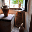 Beautiful Mediterranestill life with pottery and seview with palm trees — Foto Stock #28041469