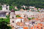 Beautiful view of the ancient Mediterranean city of stone with tiled roofs — Stock Photo