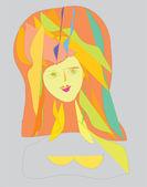 Girl, miroir, coup d'oeil, — Photo