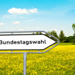 "Sign with ""Bundesagswahl"" before a meadow - Stock Photo"