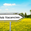 Stock Photo: Job vacancies on sign before meadow