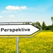 "Sign ""perspective"" before a meadow — Stock Photo"