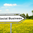 Sign social Business before a meadow — Stock Photo