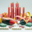 New year's stunner, firecrackers and bangers — Stock Photo