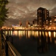 Stock Photo: City at night, Salford quays in Manchester, England