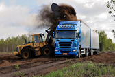 Combine dumps soybeans into a semi tractor-trailer — Stock Photo