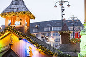 White magic lights Christmas market — Stock Photo