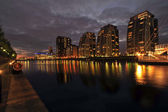 City at night, Salford quays in Manchester, England — Stock Photo