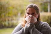 Cleaning nose — Stock Photo
