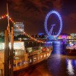The London Eye on the Thames River — Stock Photo