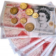 Stock Photo: British 50 pound sterling notes