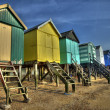 Beach huts on the North Sea — Stok fotoğraf