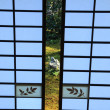Japanese garden from inside Japanese room — ストック写真