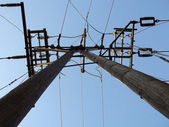 Power pole, a view from below — Stock Photo
