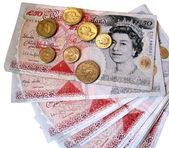 British 50 pound sterling notes — Stock Photo