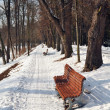 Snow on bench in park of winter. — Stock Photo