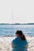 Woman at the elbe — Stock Photo