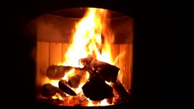 Fireplace fire Open fire — Stock Video