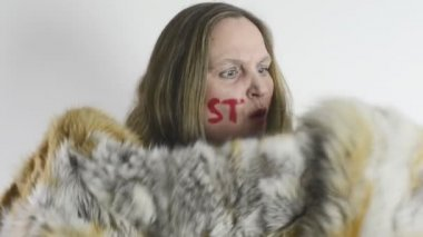 Anti fur animal cruelty fur opponents — Stock Video