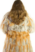Woman model in fur isolated — Stock Photo