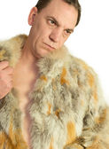 Man Model in fur isolated — Stock Photo