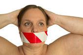 Woman may not speak — Stock Photo