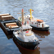 Model ship is left on a lake to water — Stock Photo #41305345
