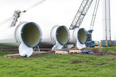 Construction onshore wind turbines — Stock Photo
