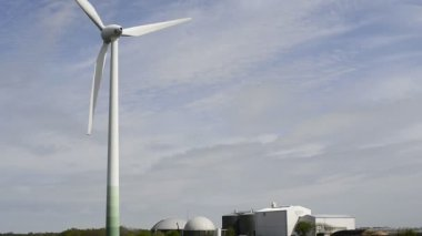 Wind turbine and biogas plant — Stock Video