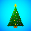 Christmas tree with decorations on blue background — Stock Vector