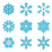 Set of blue snowflakes on white — Stock Vector
