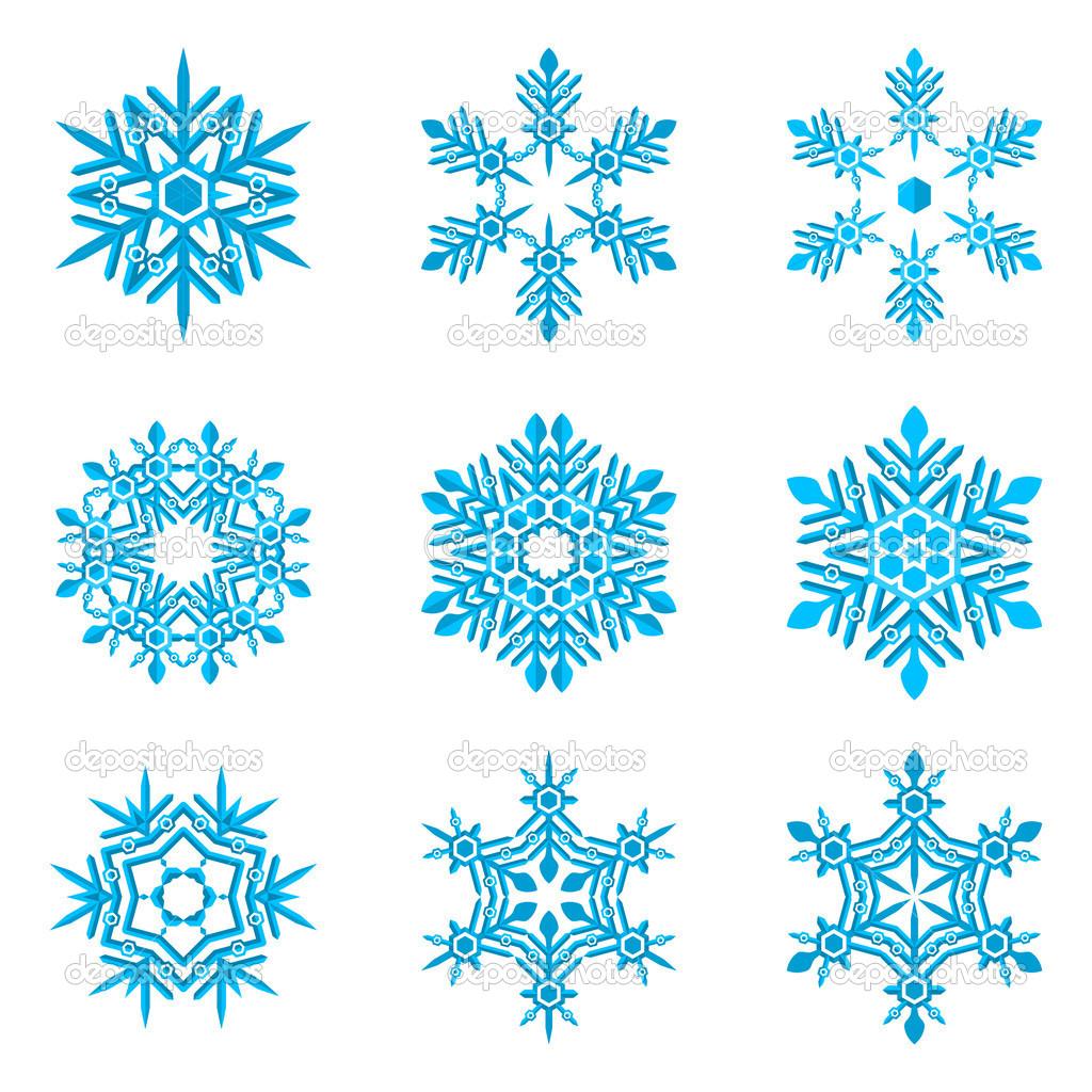 组的白底蓝色雪花 — 图库矢量图像08 trikona