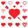 Set of red hearts silhouette icons — Stock Vector