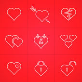 Valentine's day set of outline icons — Stock Vector