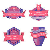 Set of vector logo pink retro labels and vintage style banners — Stock Vector