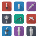 Barmen equipment icons set — Stock Vector #50363143