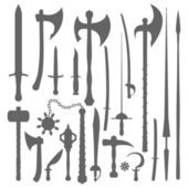 Medieval weapons silhouette set — Stock Vector